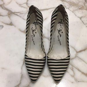 Alice x Olivia high hills black and white stripes
